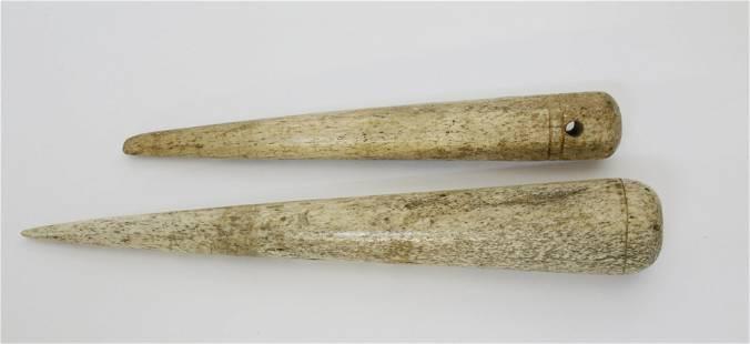 Two Antique Turned Whalebone Fids, circa 1850
