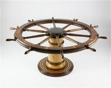 American Large Inlaid Ship's Wheel Dining Table