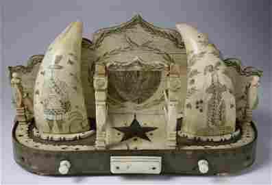 Antique Scrimshaw Whale Teeth Watch Hutch