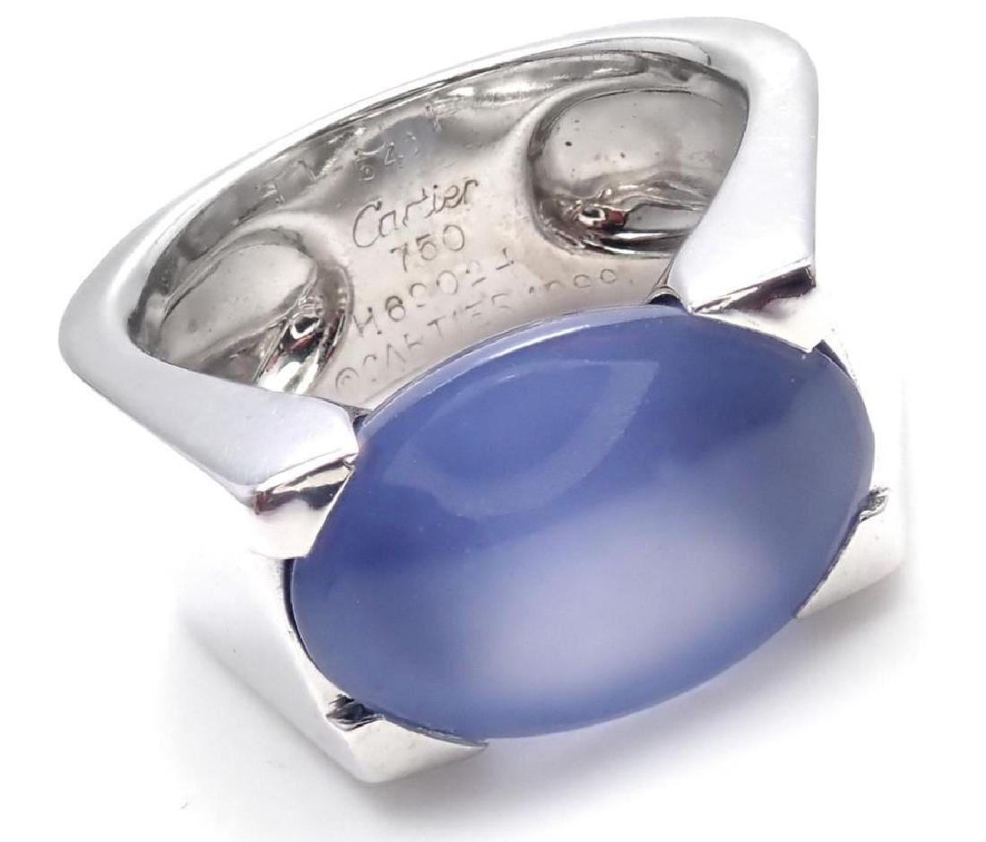 Authentic! Cartier 18k White Gold Large Chalcedony Ring