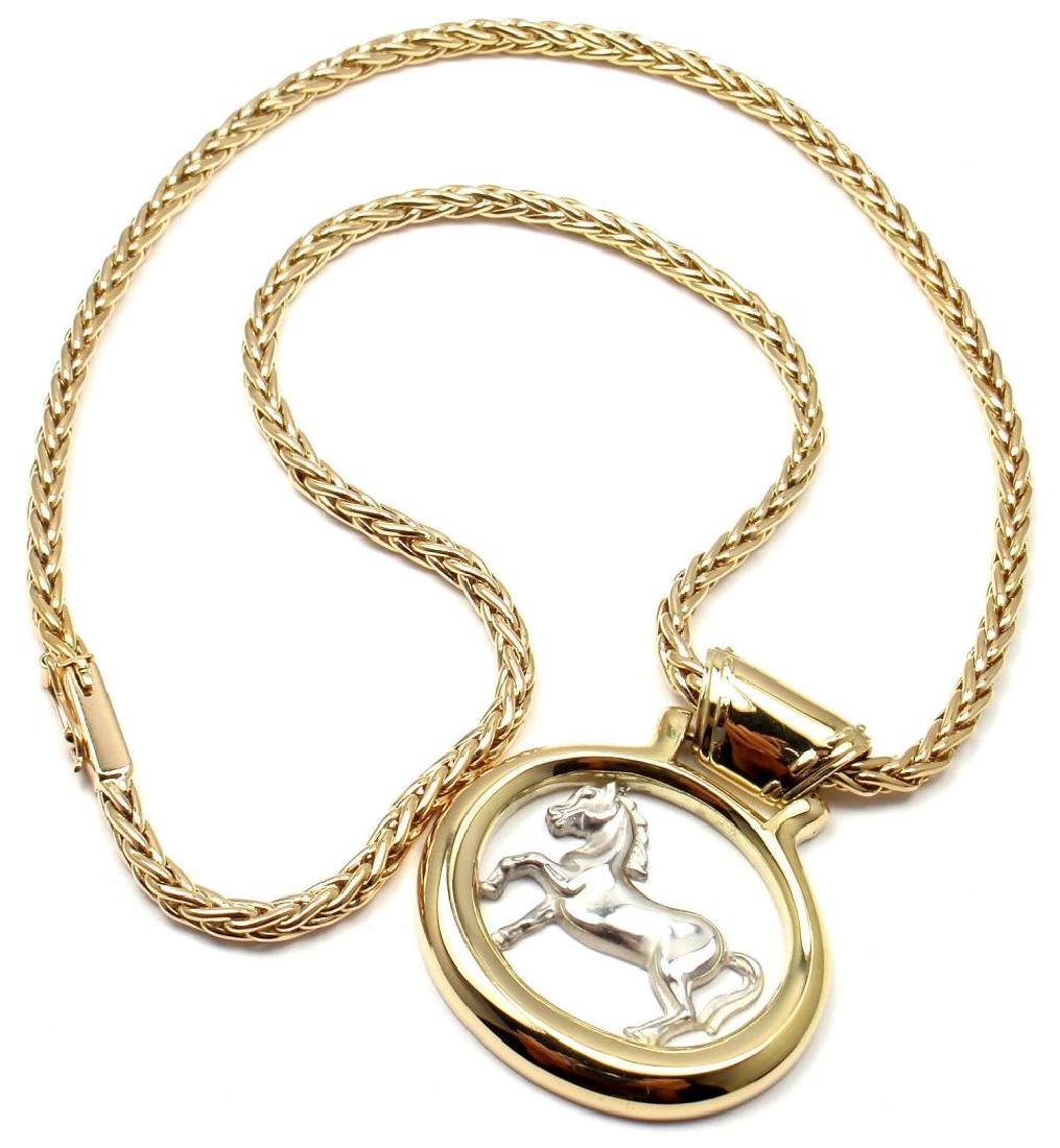 Rare! Authentic HERMES 18k Yellow & White Gold Horse