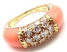 Authentic VCA Van Cleef & Arpels 18k Yellow Gold Coral