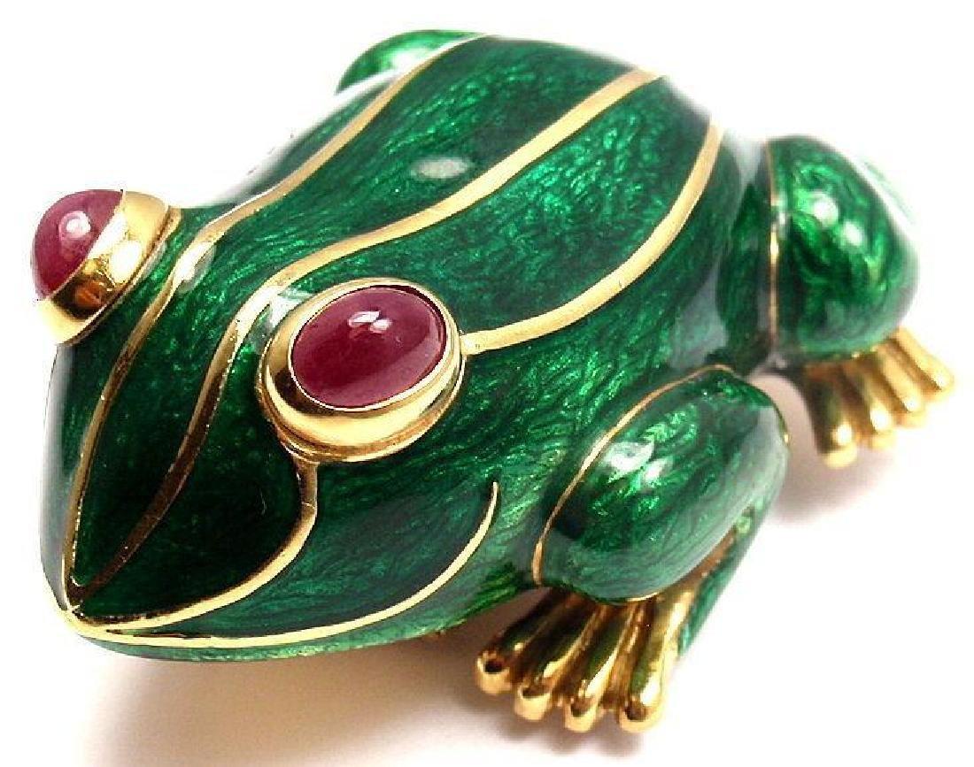 David Webb 18K Gold Ruby Green Enamel Frog Brooch