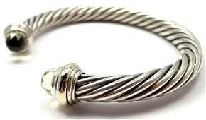David Yurman 14K Gold Silver Cable Citrine Bracelet