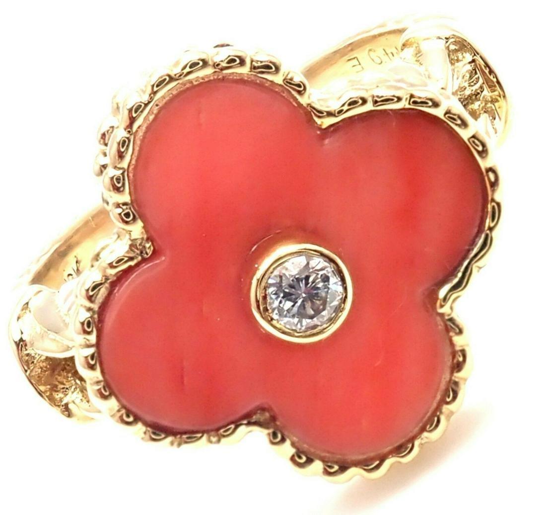 Van Cleef & Arpels Alhambra 18K Coral Diamond Ring