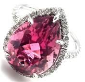 Tiffany & Co Plat Diamond Pink Tourmaline Ring