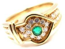 Christian Dior 18K Yellow Gold Diamond Emerald Ring