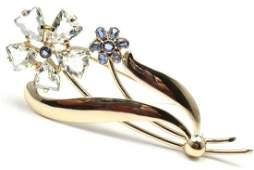 Cartier 14K Gold Aquamarine Sapphire Flower Brooch