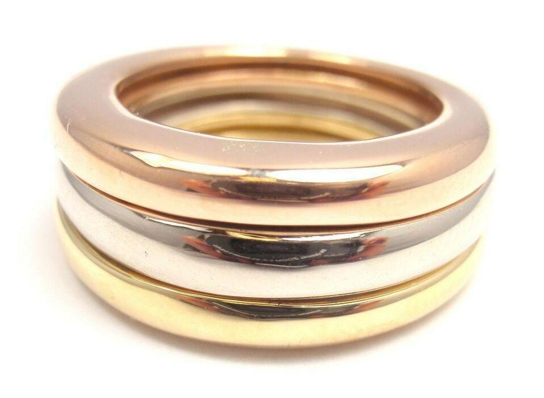Cartier 18K Tri-Gold Stacking Band Ring