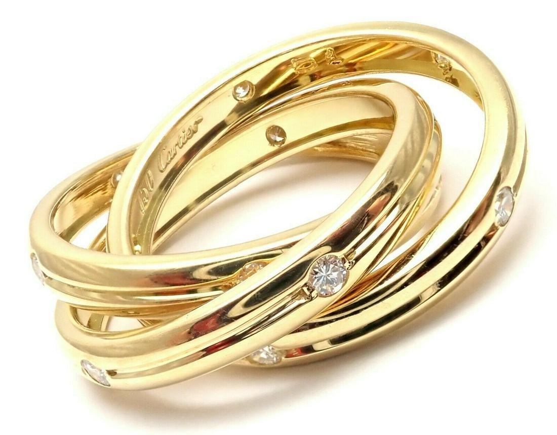 Cartier 18K Yellow Gold Diamond Trinity Band Ring