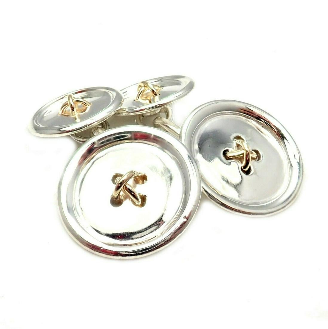 Tiffany & Co 14K Gold Silver Two Sided Button Cufflinks