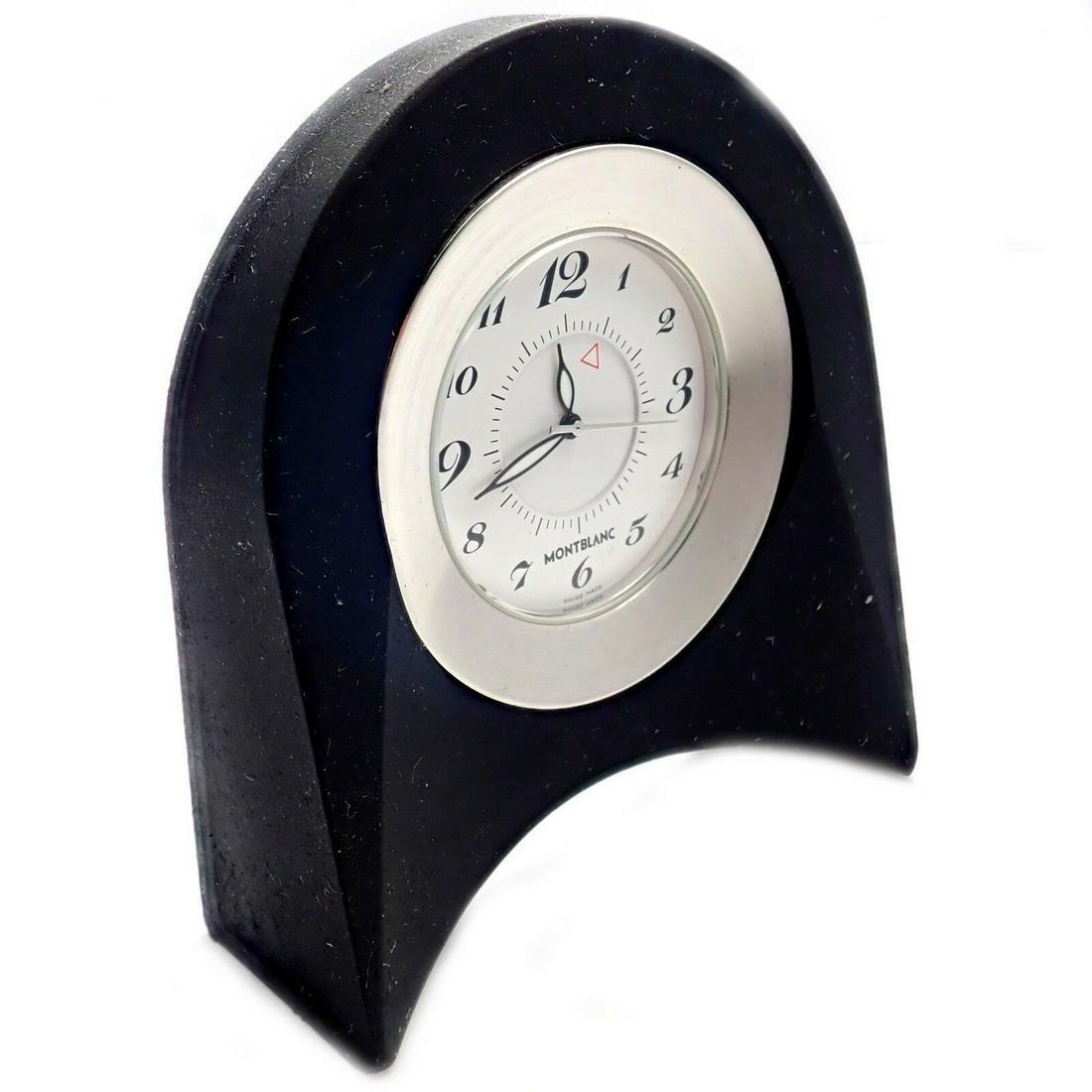 Montblanc Black Rubber Desk Travel Alarm Clock W/ Box