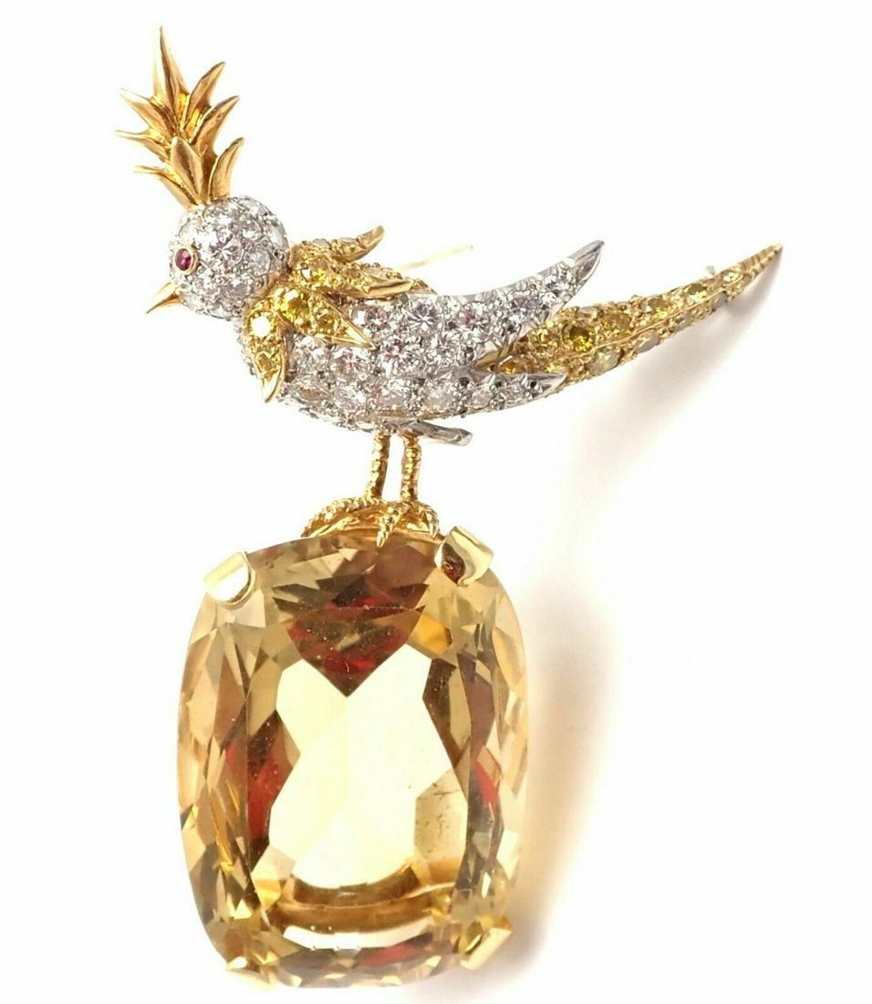 Tiffany & Co Schlumberger 18k Gold Diamond Citrine Bird