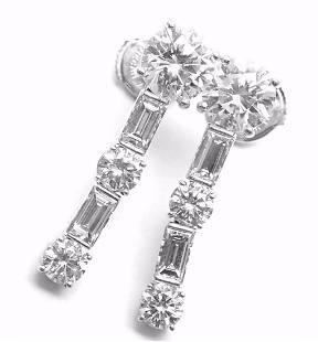 Cartier 18k White Gold Diamond Ear Pendants Drop