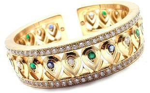 Cartier 18k Yellow Gold Diamond Sapphire Emerald Cuff