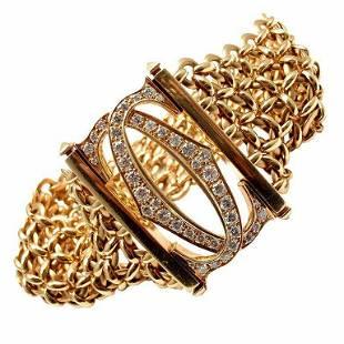 Cartier Penelope 18k Yellow Gold Diamond Double C 5 Row