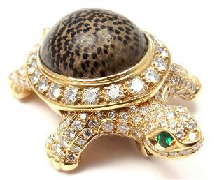 Cartier Turtle 18k Yellow Gold Diamond Fossil Jasper