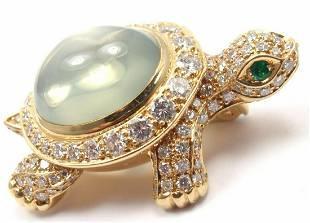 Cartier Turtle 18k Yellow Gold Diamond Moonstone Pin