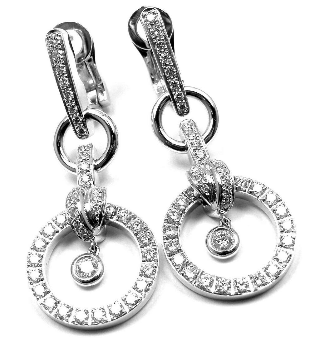 New  PIAGET 18k White Gold 1.68ct Diamond Drop Earrings