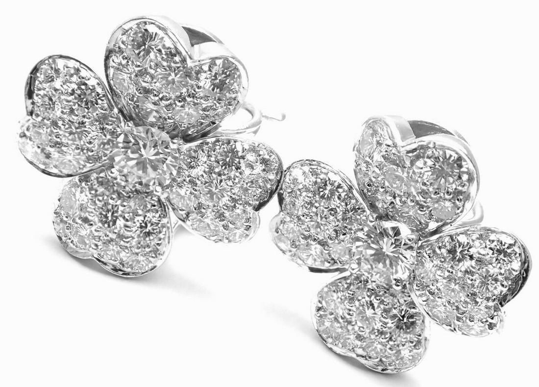 Van Cleef & Arpels Cosmos Platinum Diamond Earrings