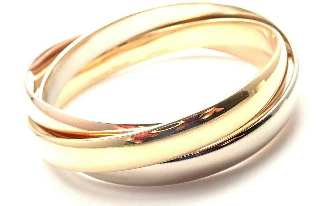 CARTIER 18k Tri-Color Gold Wide Large Size Trinity