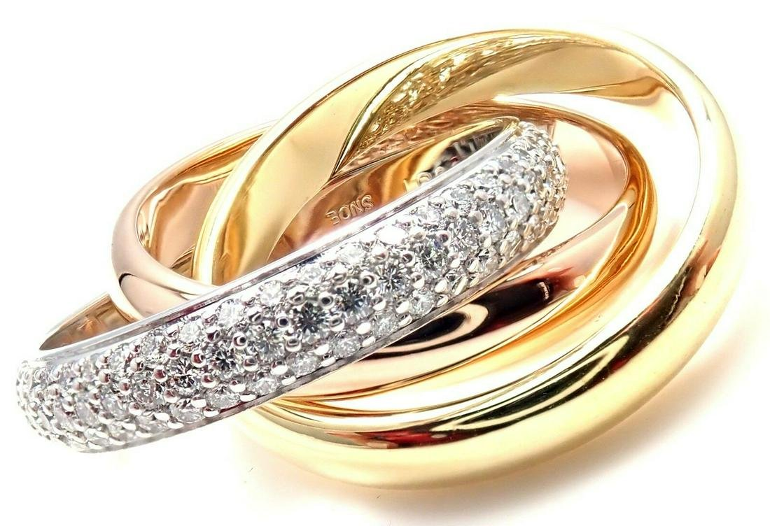 Cartier 18k Tri-Color Gold Diamond Trinity Band Ring