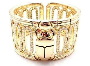 Authentic Cartier Scarab 18k Yellow Gold 15.4ct Diamond