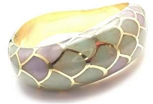 Authentic! Angela Cummings 18k Gold Purple Green Jade