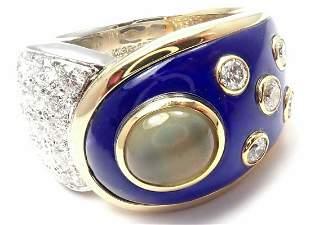 Mikimoto Platinum & 18k Gold Diamond Cats Eye Enamel