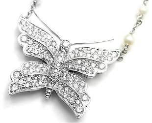 Tiffany & Co Platinum Diamond Pearl Butterfly Pendant