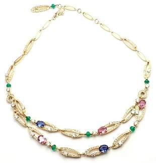 BVLGARI Elysia 18k Gold Diamond Sapphire Emerald