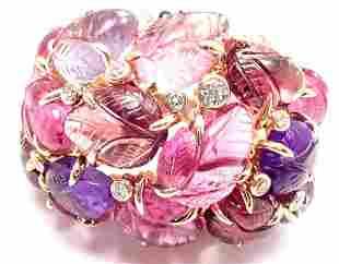 CARTIER 18k Rose Gold Diamond Carved Rubelite Amethyst