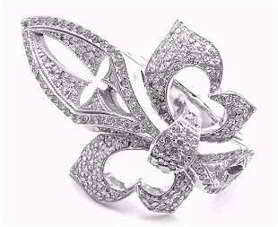 Loree Rodkin 18k White Gold Diamond Fleur De Lis Ring