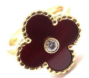 Van Cleef & Arpels Alhambra 18k Gold Diamond Carnelian