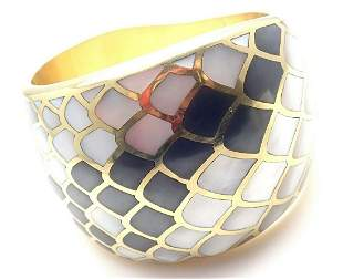 Angela Cummings 18k Gold Mother Of Pearl Snakeskin Wide
