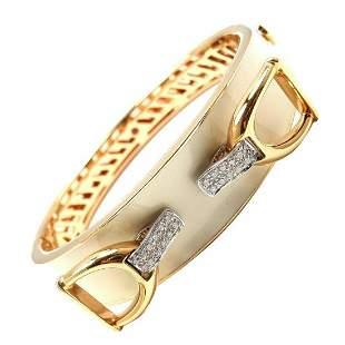 Roberto Coin Cheval Stirrup 18k Gold Diamond Enamel