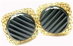 Van Cleef & Arpels 18k Yellow Gold Agate Cufflinks