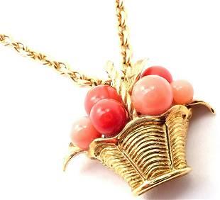 Van Cleef & Arpels 18k Gold Coral Bead Fruit Basket