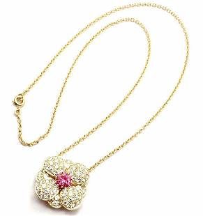Van Cleef & Arpels 18k Gold Diamond & Pink Sapphire