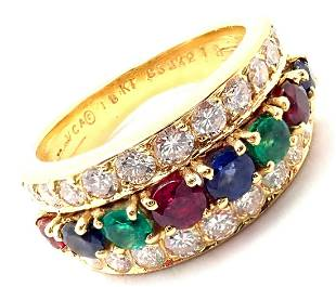 Van Cleef & Arpels 18k Gold Emerald Diamond Sapphire