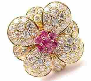 Van Cleef & Arpels 18k Rose Gold Pink Sapphire Diamond