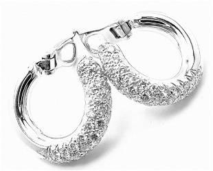 Van Cleef & Arpels 18k White Gold Diamond Hoop Earrings