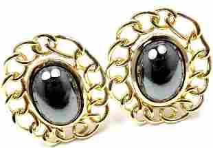 Angela Cummings 18k Yellow Gold Hematite Large Earrings