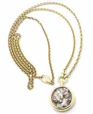 "Bulgari Bvlgari 18k Yellow Gold Ancient Coin 36"" Long"