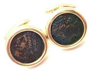 Bulgari Bvlgari 18k Yellow Gold Ancient Coin Cufflinks