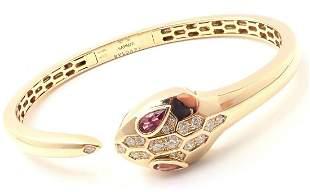 Bulgari Bvlgari Serpenti 18k Gold Diamond Rubellite
