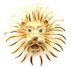 Cartier Lion 18k Yellow Gold Sapphire Large Brooch Pin