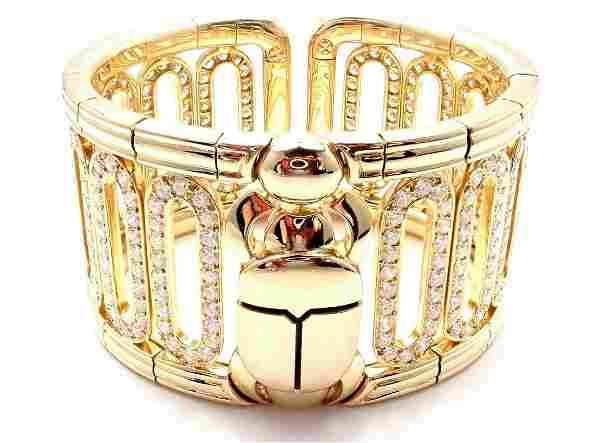 Cartier Scarab 18k Yellow Gold 15.4ct Diamond Cuff