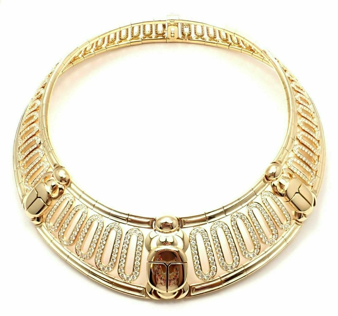 Cartier Scarab 18k Yellow Gold 20.72ct Diamond Collar
