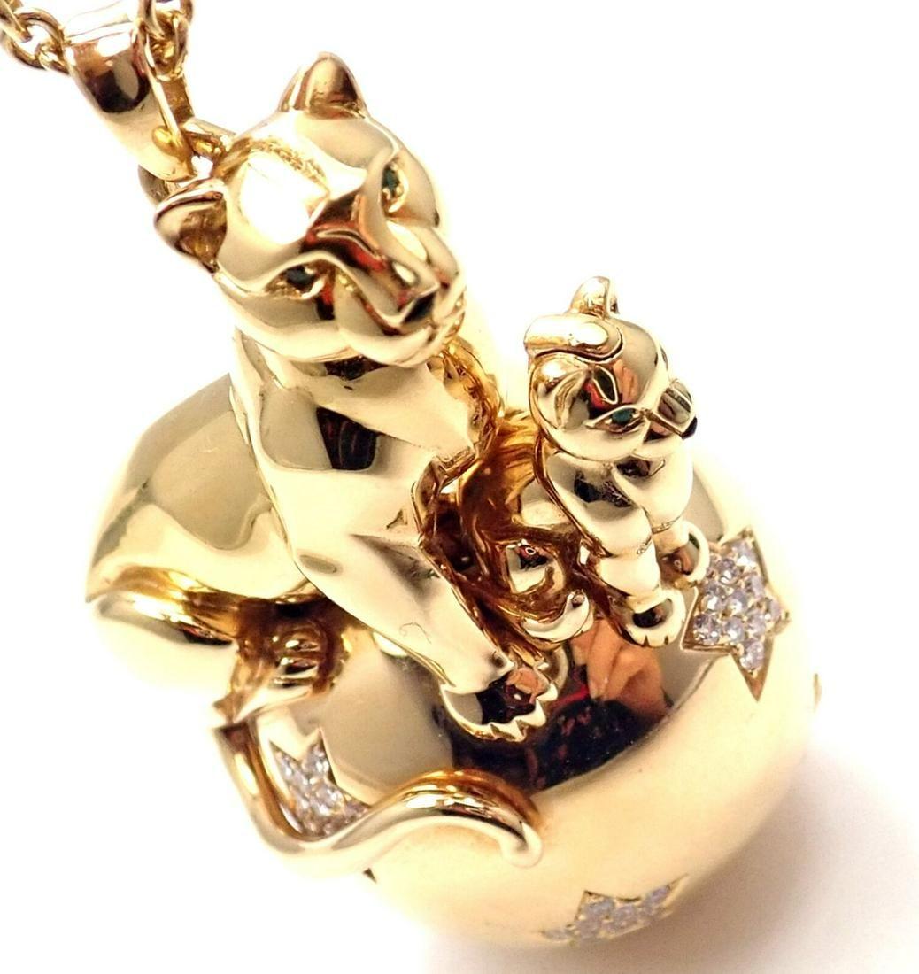 Cartier 18k Gold Panthere Diamond 2 Panthers Balloon